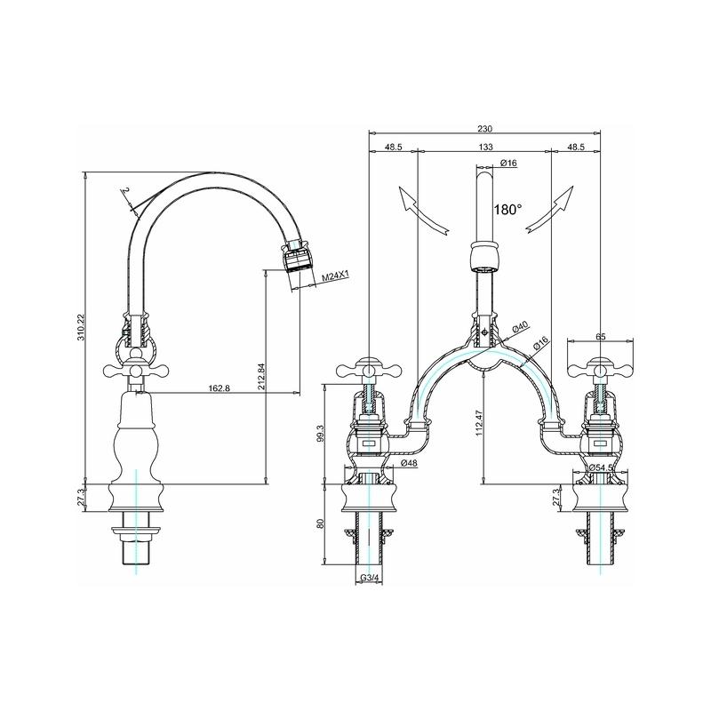 Burlington Claremont Regent Arch Curved Spout Mixer, 230mm Centres