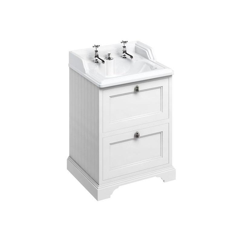 Burlington Freestanding 65cm White 2 Drawer Unit & 2 Hole Basin