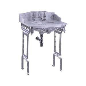 Burlington Carrara Marble Top & Basin with Brushed Washstand