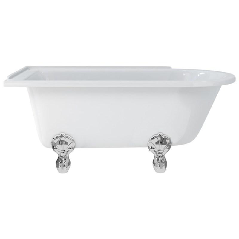Burlington Hampton 150cm Left Handed Shower Bath, Luxury Feet