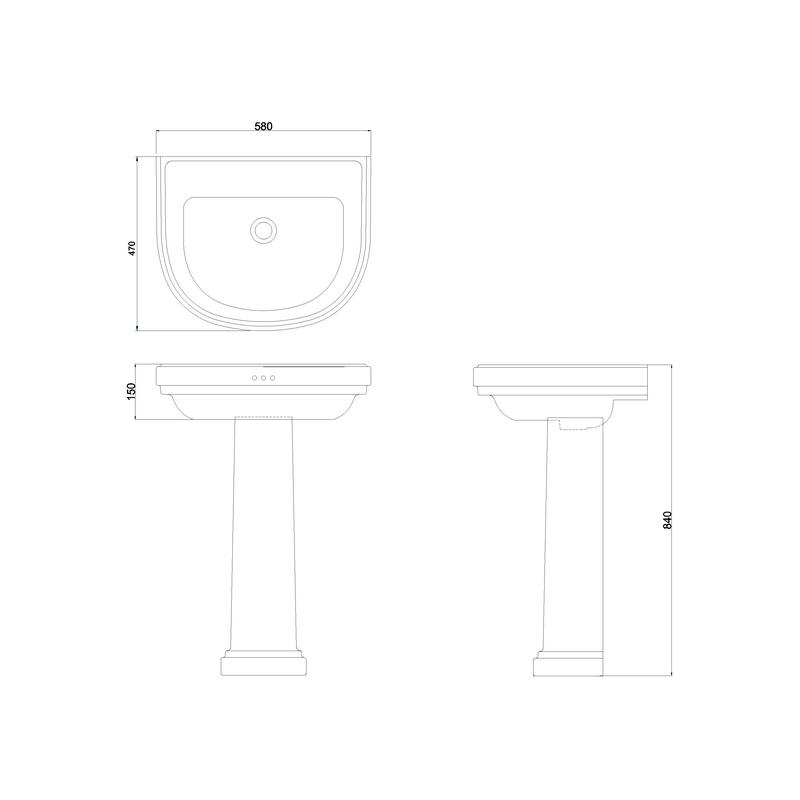 Burlington Riviera 580mm D Shape No Tap Hole Basin & Full Pedestal