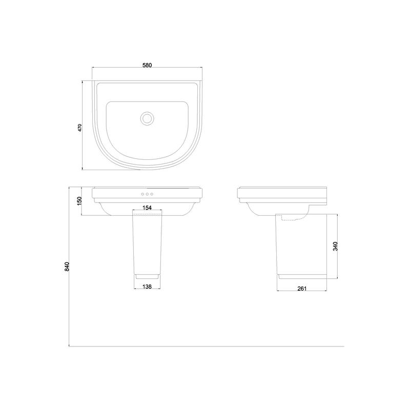 Burlington Riviera 580mm D Shape No Tap Hole Basin & Semi Pedestal