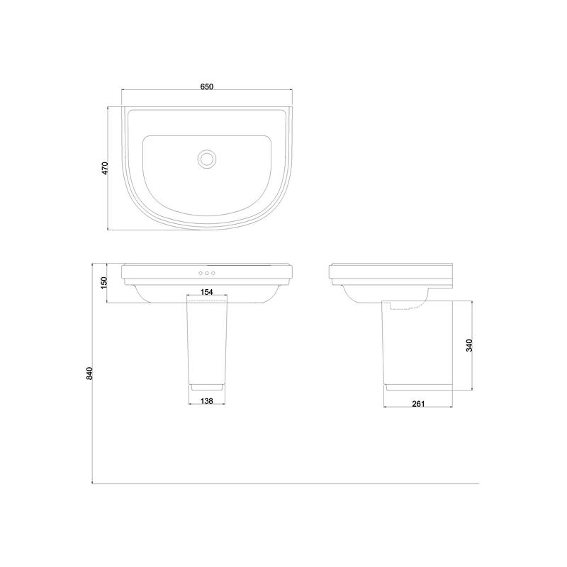Burlington Riviera 650mm D Shape Basin & Semi Pedestal