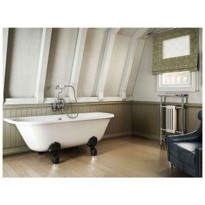 Burlington Avantgarde Back-To-Wall 1700mm Bath with Black Feet
