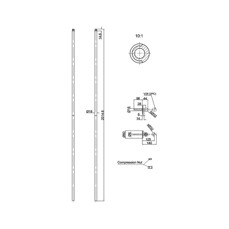 Burlington Shower Riser with Adjustable Brackets Nickel