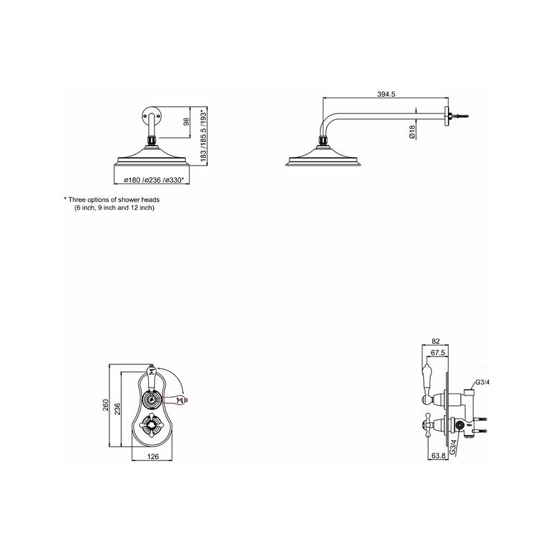 Burlington Severn Thermostatic Single Outlet Shower Valve with Rose
