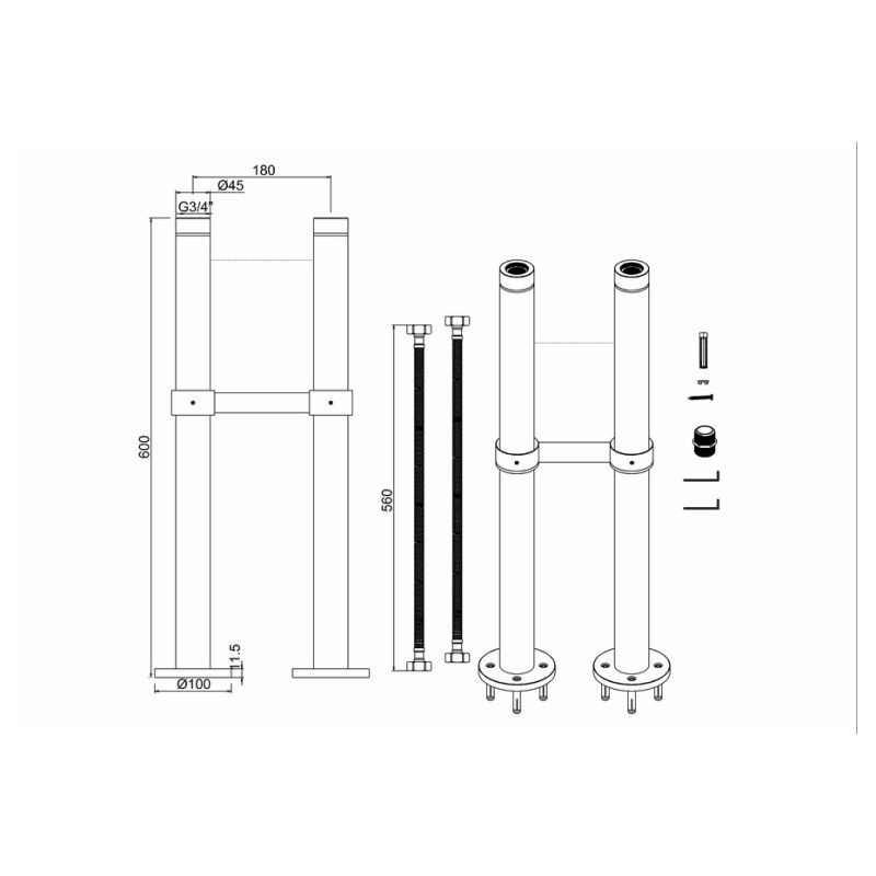 Burlington Stand Pipes with Horizontal Support Bar Gold