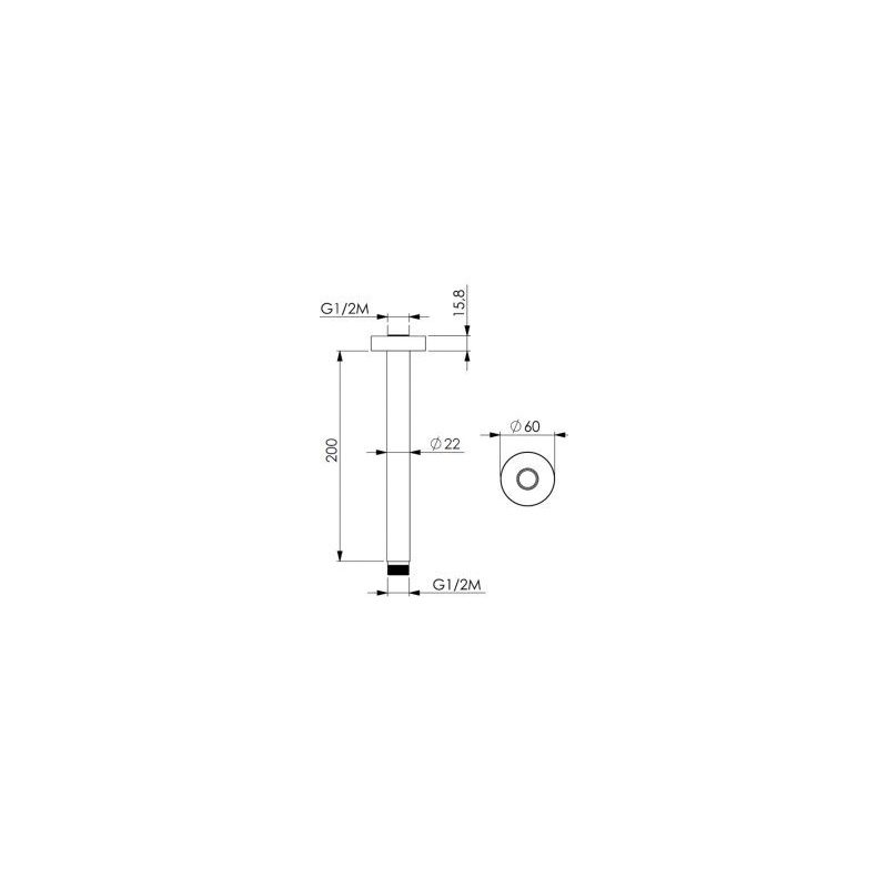 Cifial 200mm Ceiling Shower Arm Black