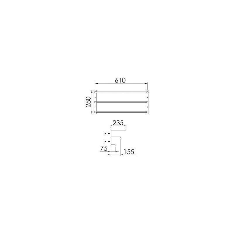 Cifial Straight Triple Towel Rail 610mm Chrome