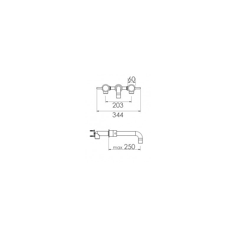 Cifial Technovation 465 3 Hole Wall Bath Mixer Chrome