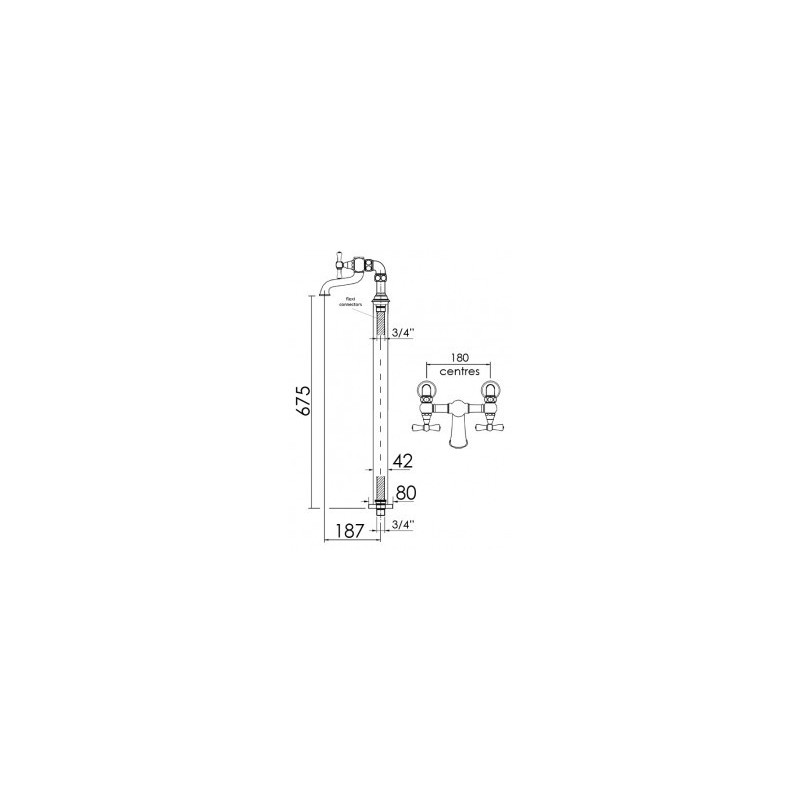 Cifial Edwardian 2 Hole Floor Standing Bath Filler Chrome