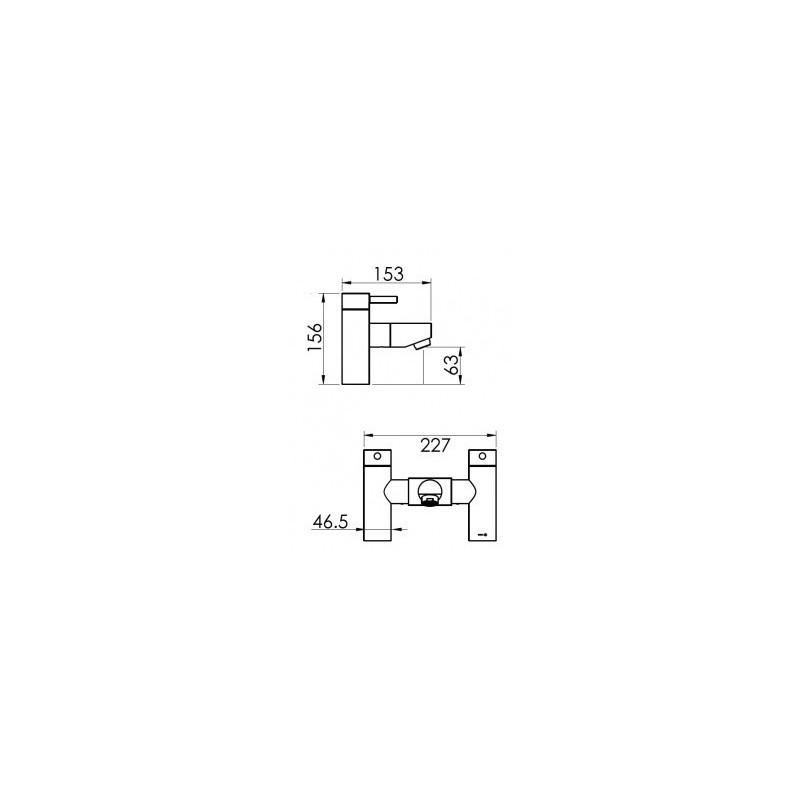 Cifial Technovation 465 Straight 2 Hole Deck Bath Filler