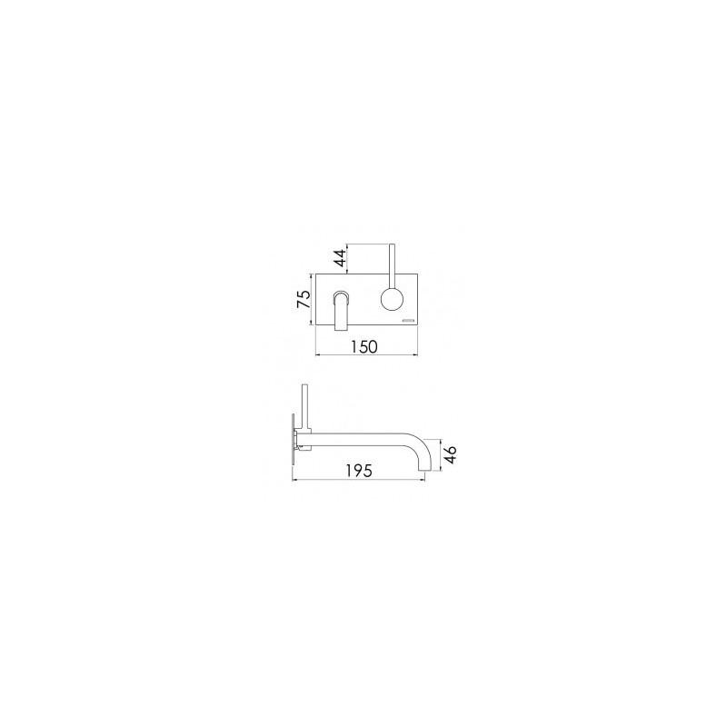 Cifial Mini Round 2 Hole Wall Basin Mixer