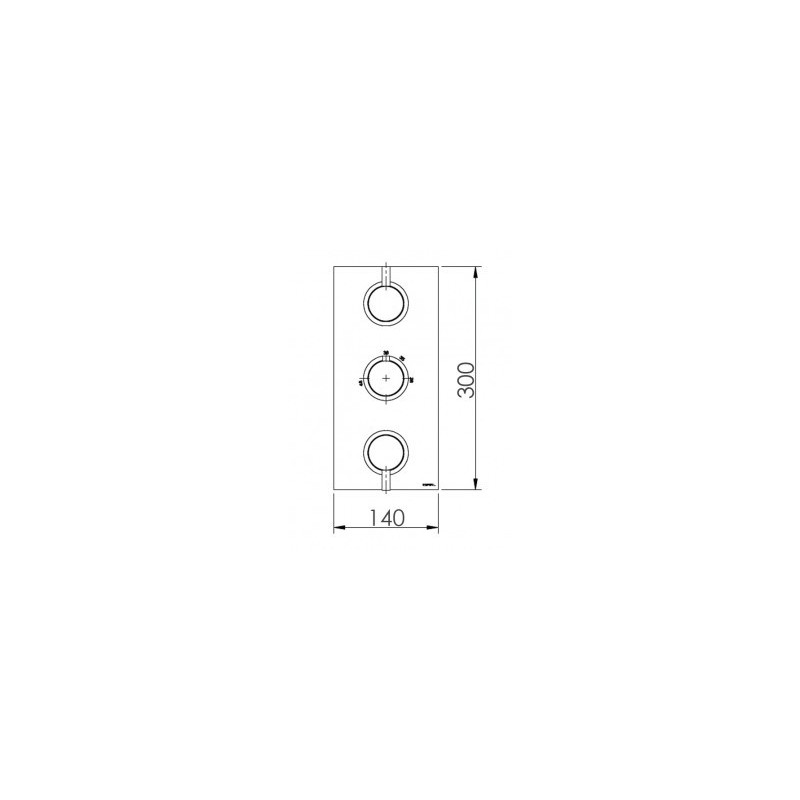 Cifial Black 3 Control Thermostatic Valve, Vertical
