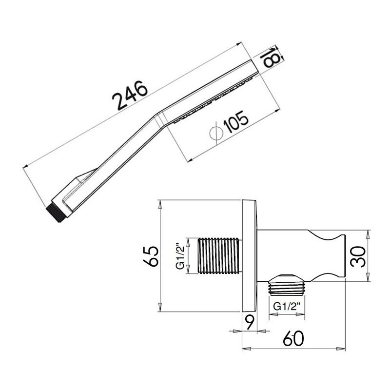 Cifial Fresco Standard Flexi Wall Outlet Kit