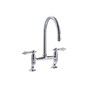 Clearwater Elegance Bridge Mixer with Swivel Spout Brushed