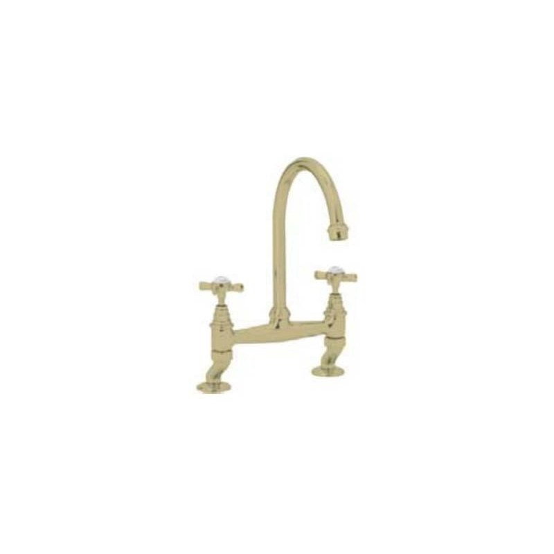 Clearwater Cottage Bridge Mixer with Swivel Spout English Gold