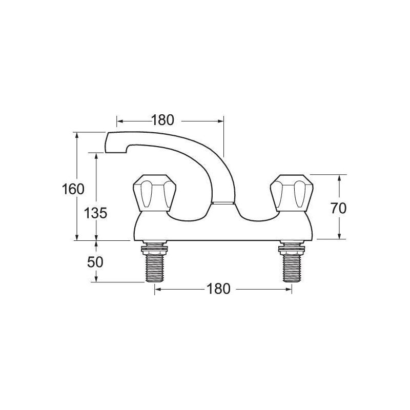 Deva Profile Deck Mounted Sink Mixer with Metal Backnuts