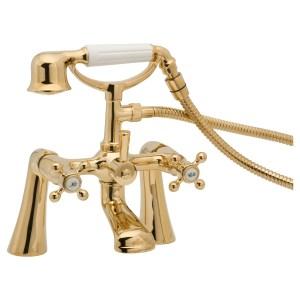 Deva Tudor Pillar Mounted Bath Shower Mixer Gold