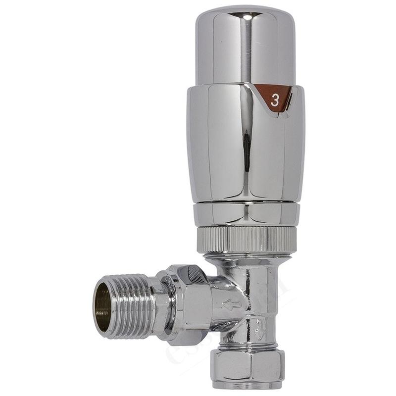 Essential Thermostatic Radiator Valves Angled 15mm Chrome