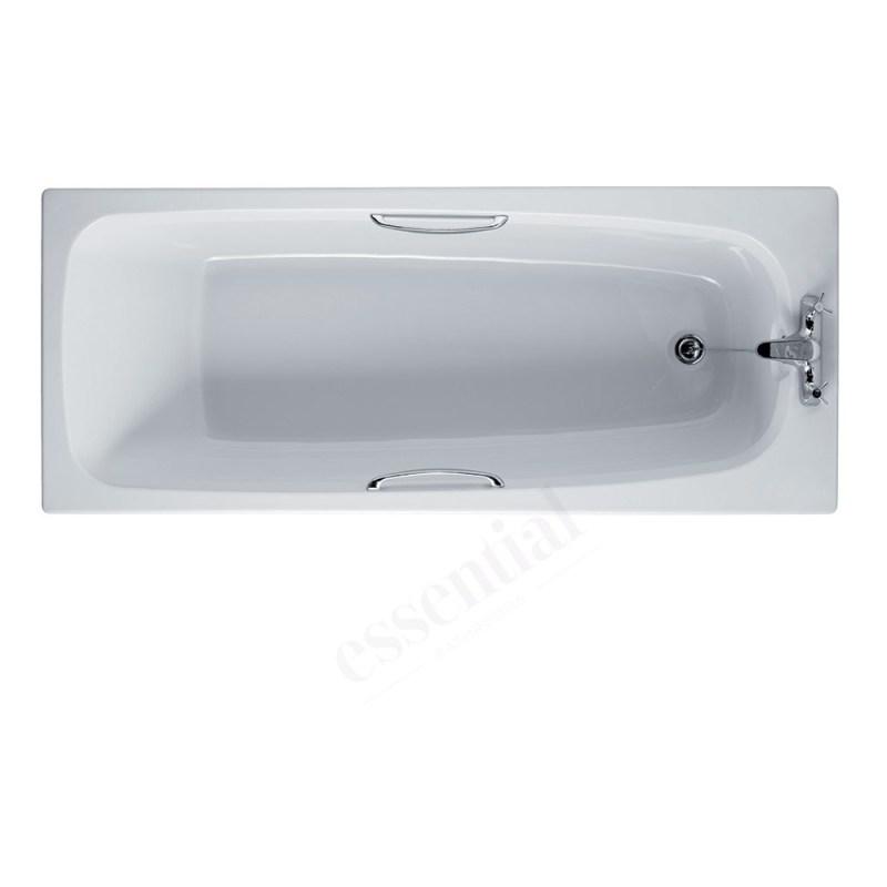 Essential Ocean Rectangular Bath 1700x700mm 2 Tap Holes White