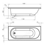 Essential Kingston Rectangular Bath 1600x700mm 0 Tap Holes White