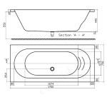 Essential Richmond Rectangular Bath 1700x750mm 0 Tap Holes White