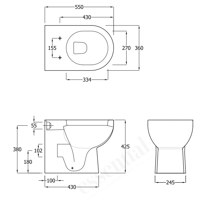 Essential Lily Back To Wall Pan, Cistern & Soft Close Seat Pack