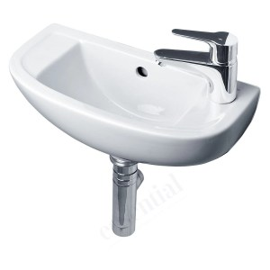 Essential Lily Handrinse Basin Only Right 450mm 1 Tap Hole White