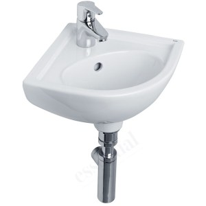 Essential Lily Corner Basin Only 440mm 1 Tap Hole White