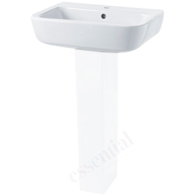 Essential Orchid Pedestal Basin Only 520mm 1 Tap Hole White