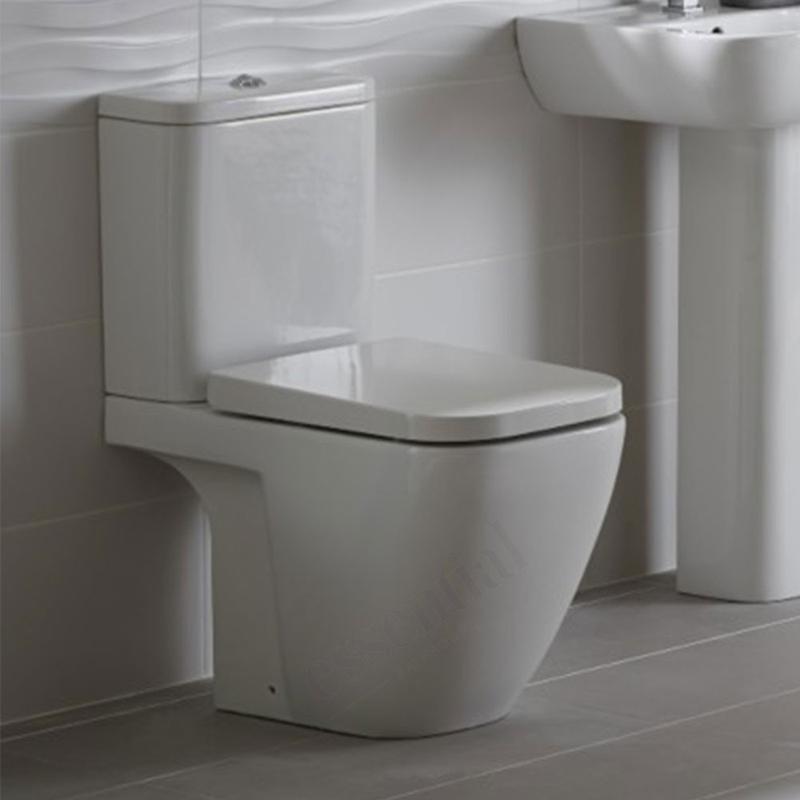Essential Fuchsia Close Coupled Open Back Pan, Cistern & Soft Close Seat