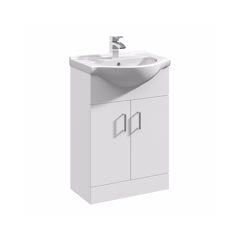 Essential Alaska White 2 Door Vanity Basin Unit & Basin 550mm