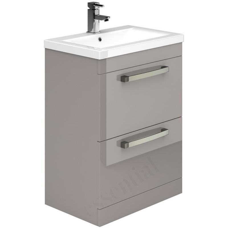 Essential Nevada Washbasin Unit & Basin 2 Drawers 600mm Cashmere