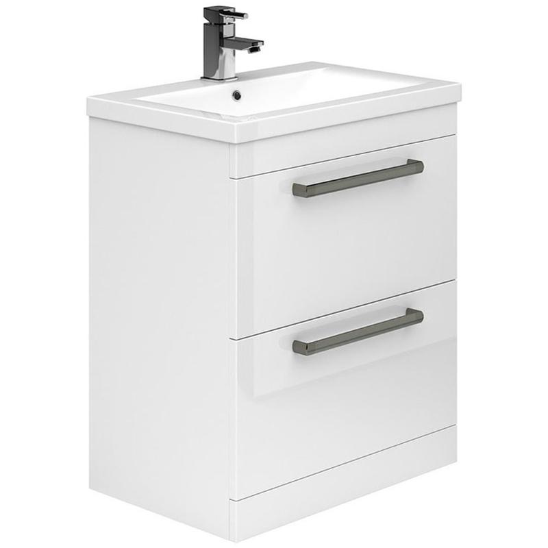 Essential Nevada 800mm 2 Drawer Floor Basin Unit & Basin White