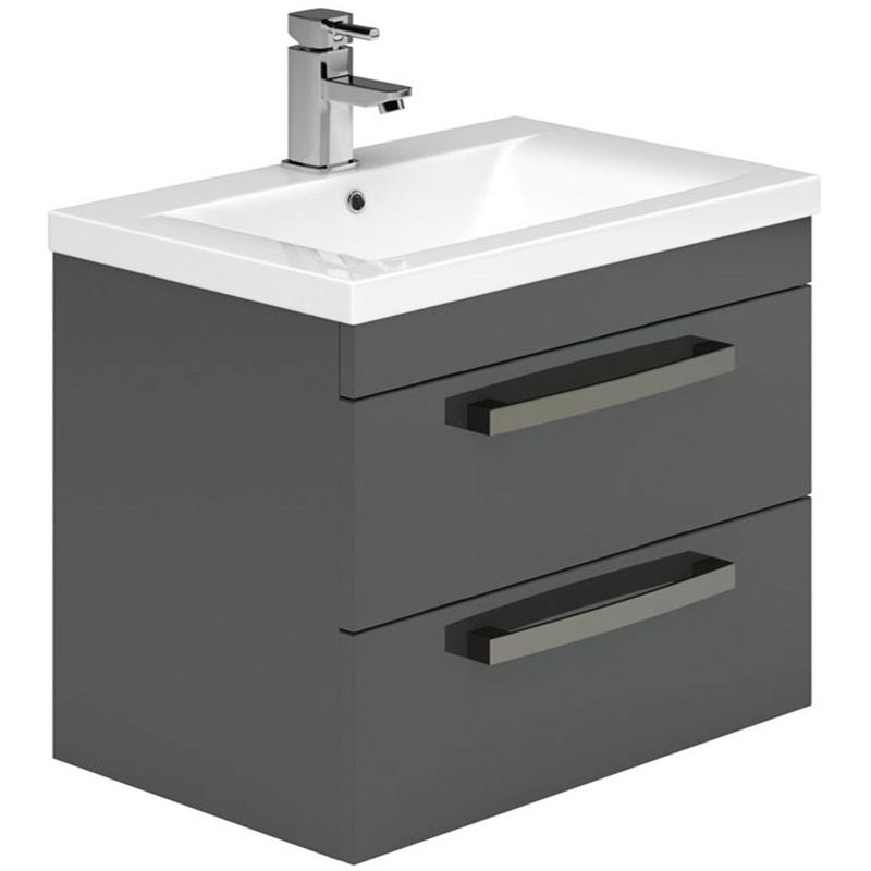 Essential Nevada 800mm 2 Drawer Wall Basin Unit & Basin Grey