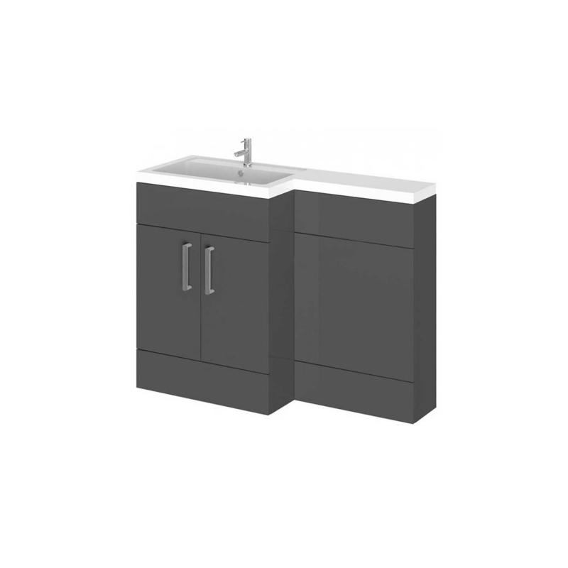Essential Nevada L Floor Unit & Basin Grey Left Hand