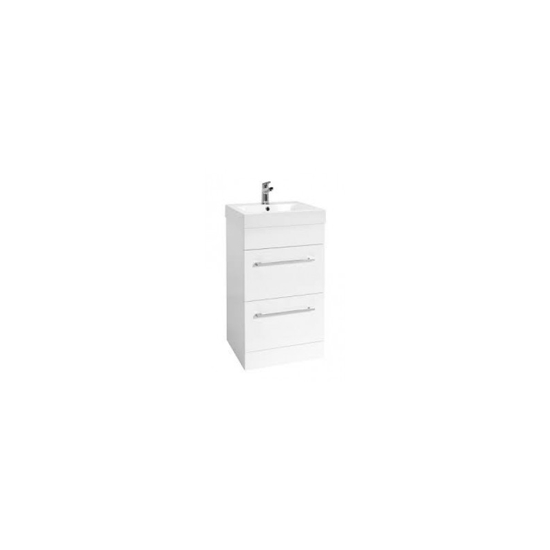 Essential Vermont 500mm Floor Standing 2 Drawer Unit & Basin White