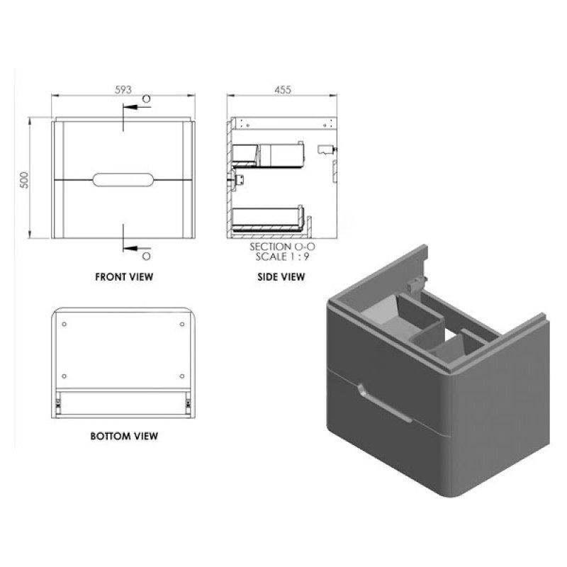 Essential Colorado 600mm Wall Unit & Basin Graphite Grey