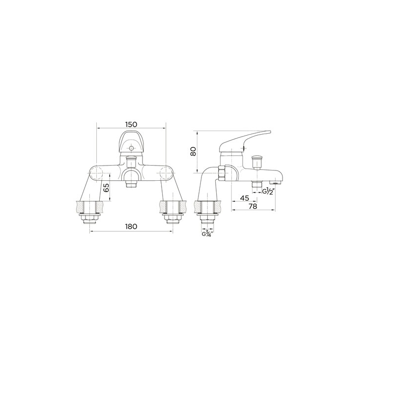 Essential Conway Deck Mounted Bath Shower Mixer & Kit