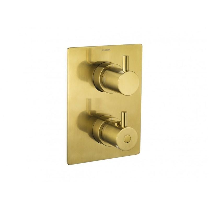 Flova Levo Square 3-Way Trim Kit Brushed Brass