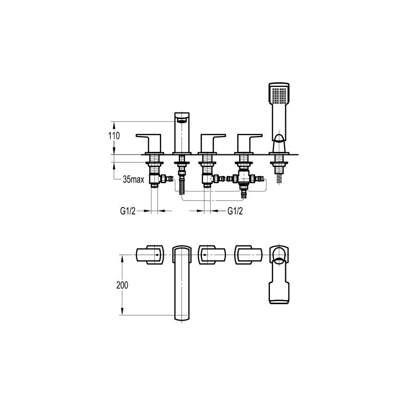 Flova Dekka 5 Hole Deck Mounted Bath Shower Mixer