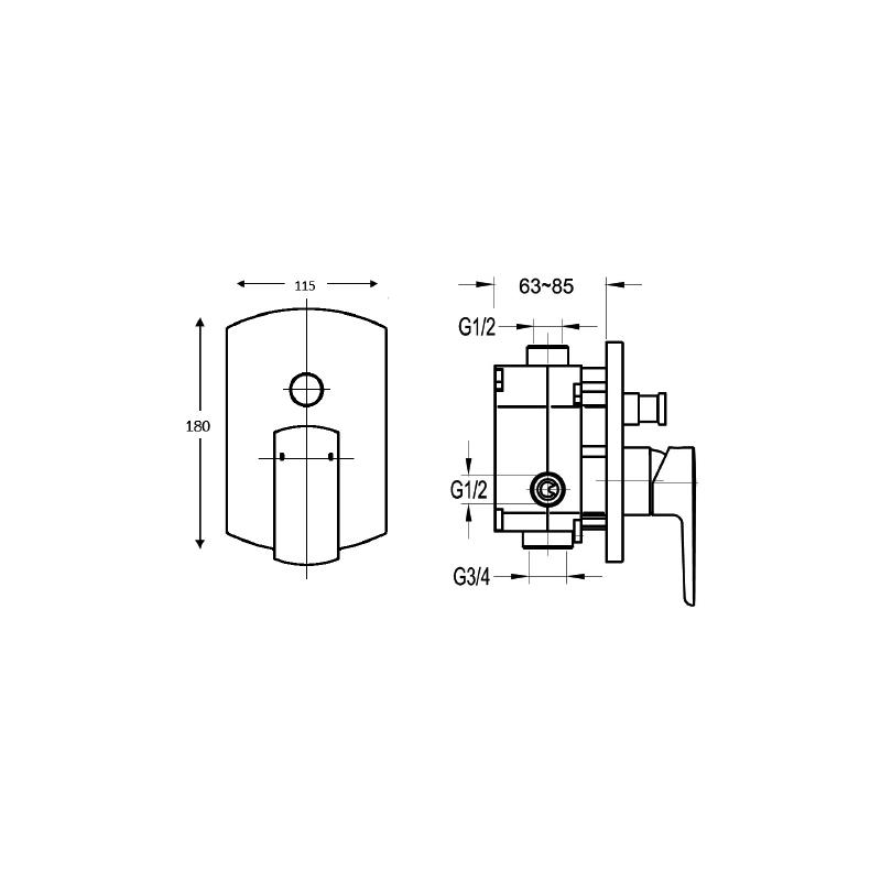 Flova Dekka Concealed 2 Outlet Manual Mixer