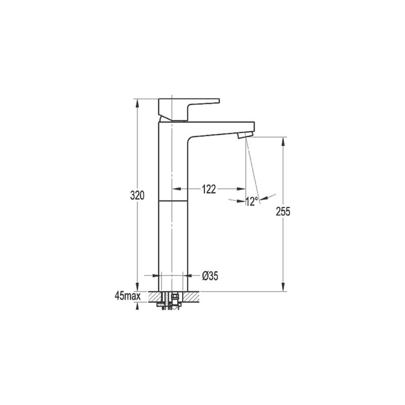 Flova Dekka Tall Single Lever Basin Mixer with Clicker Waste
