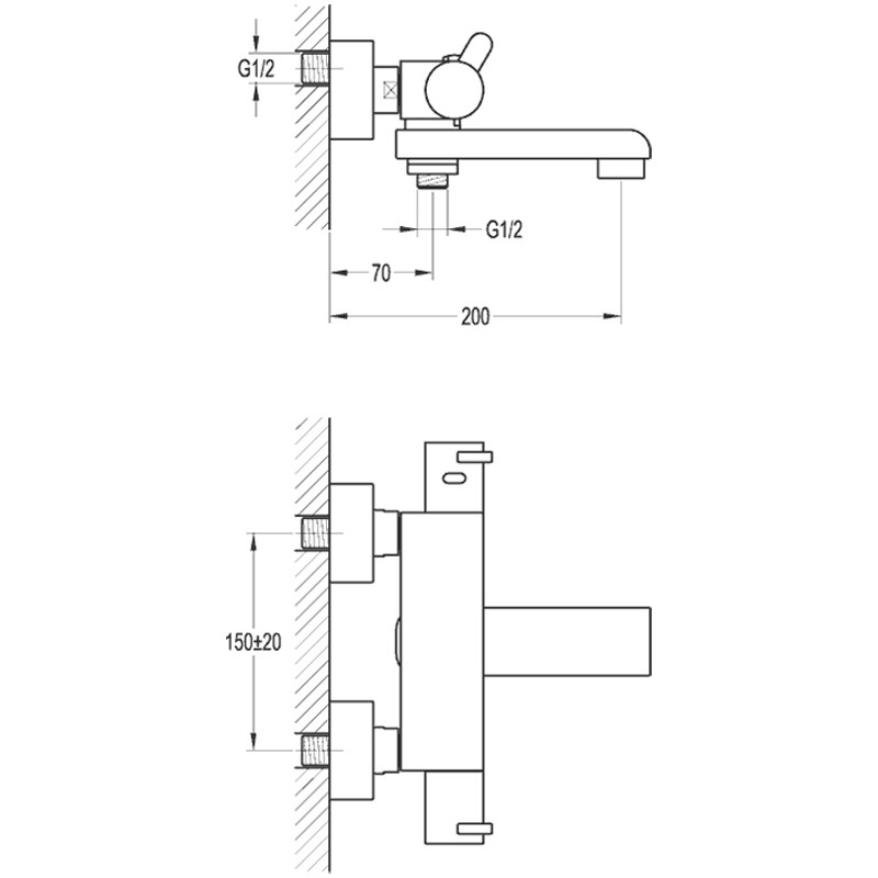 Flova Essence Wall Thermostatic Bath Shower Mixer with Spout