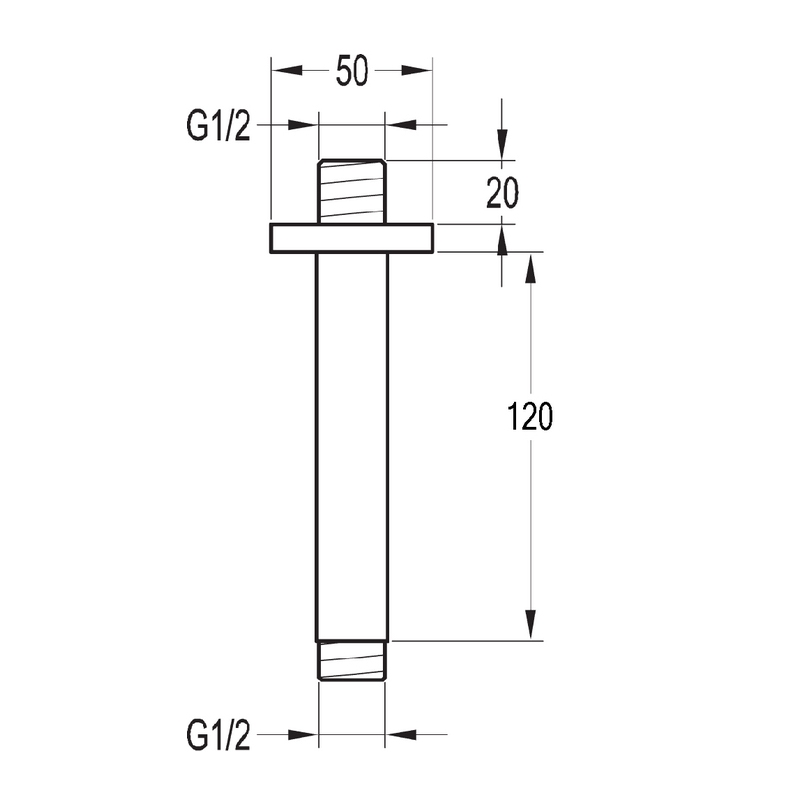 Flova Str8 Ceiling Mounted Shower Arm 120mm