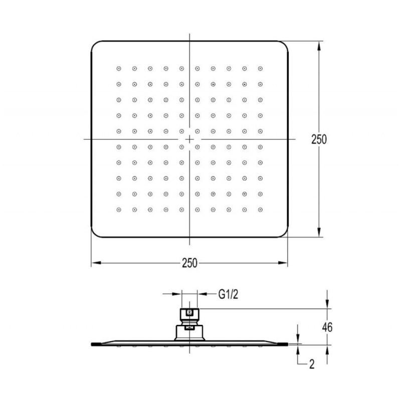 Flova 250mm Slimline Square Rainshower