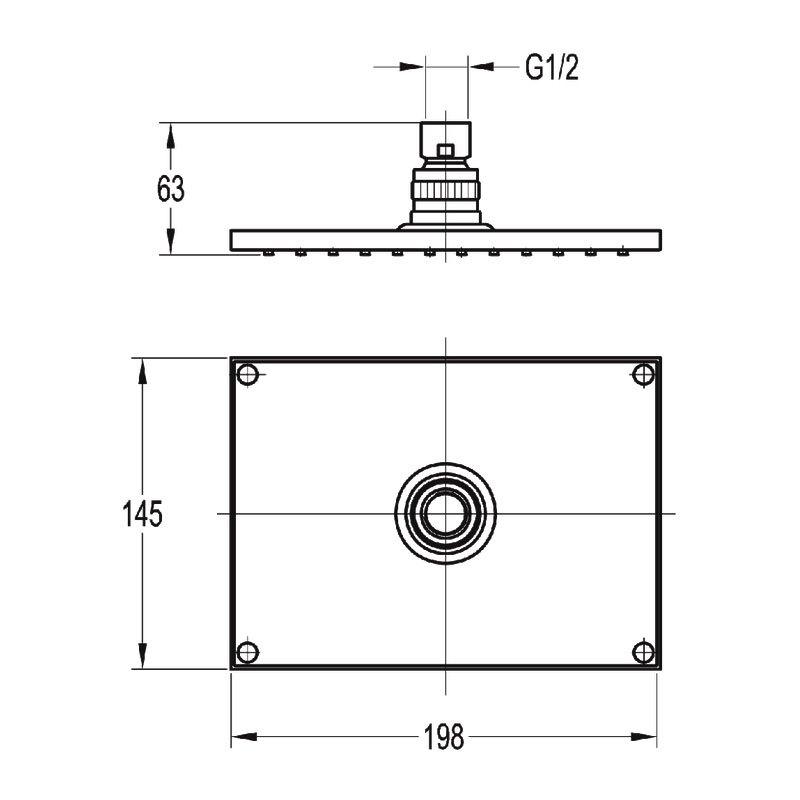 Flova Design Brass Rectangular Rain Shower 145x198mm