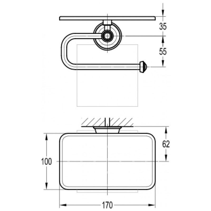 Flova Liberty Toilet Roll Holder with Shelf Chrome