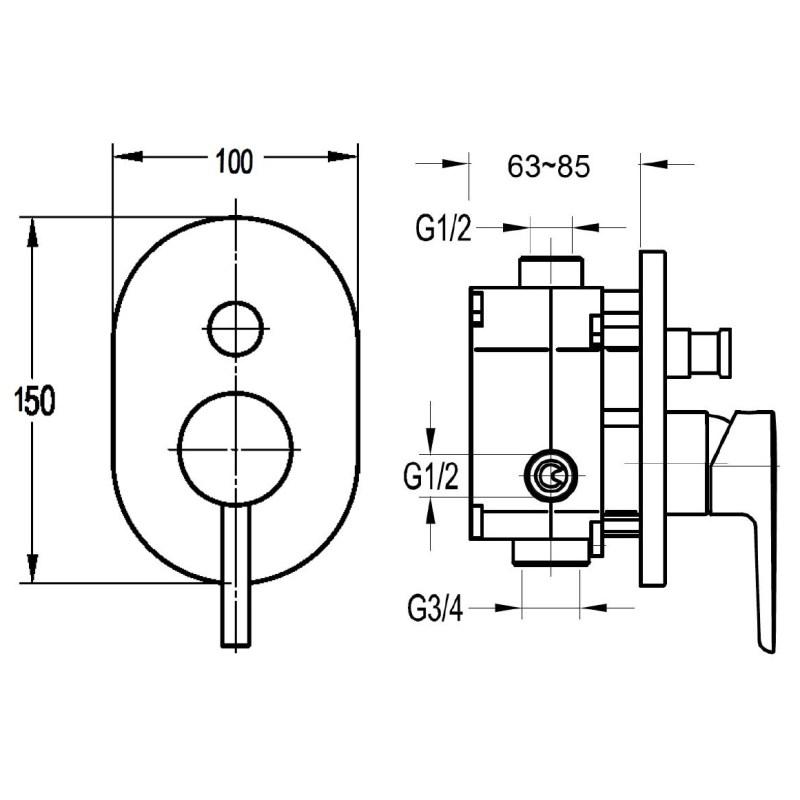 Flova Levo Manual Shower Mixer 2 Way Diverter with SmartBox